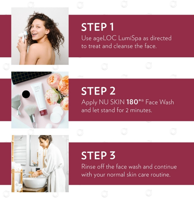 new skin care routine combining ageloc lumispa and nu skin 180 face wash in three steps
