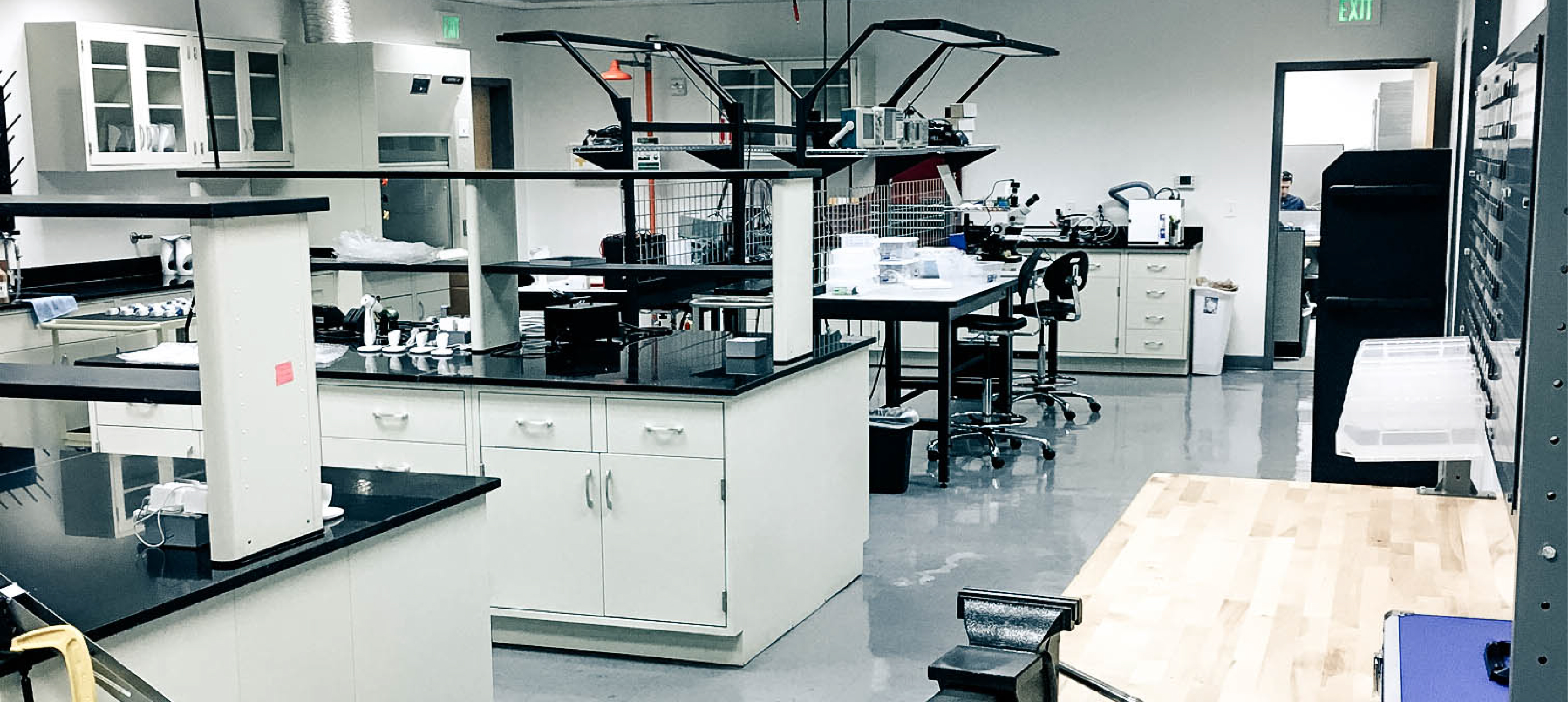 Nu Skin engineer work stations in the engineer lab