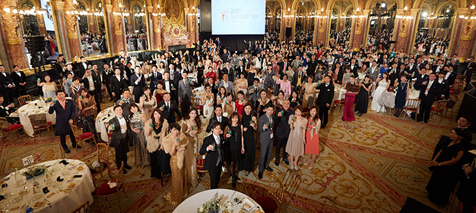 Nu Skin Japan sales leaders dining at the Salon Opera in Paris