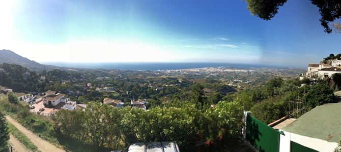 Overlooking the city of Mijas, Spain from the Montjuic Restaurant.