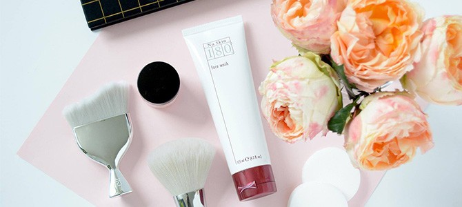 Nu Skin 180 Face Wash with flowers and makeup brushes